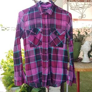 HURLEY PLAID BUTTON UP SHIRT, PINK BLACK S